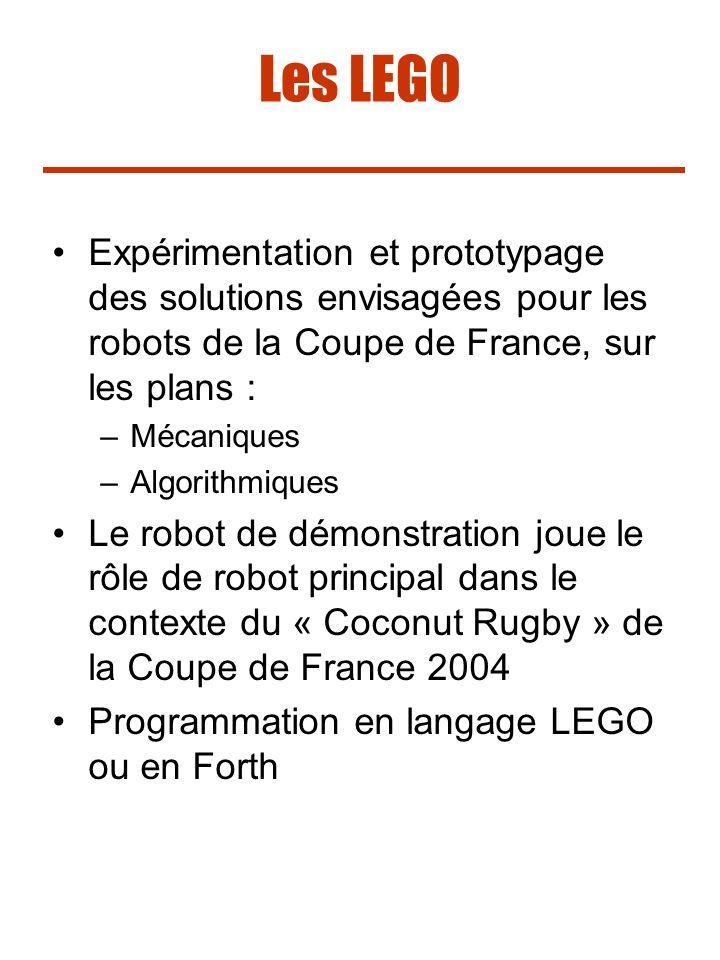 Les LEGO Expérimentation et prototypage des solutions envisagées pour les robots de la Coupe de France, sur les plans : –Mécaniques –Algorithmiques Le