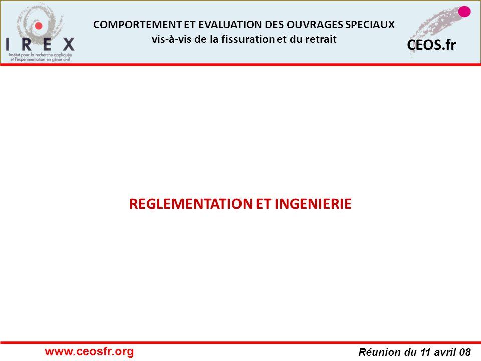Réunion du 11 avril 08 CEOS.fr COMPORTEMENT ET EVALUATION DES OUVRAGES SPECIAUX vis-à-vis de la fissuration et du retrait REGLEMENTATION ET INGENIERIE