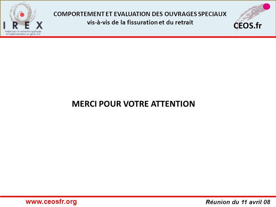 Réunion du 11 avril 08 CEOS.fr COMPORTEMENT ET EVALUATION DES OUVRAGES SPECIAUX vis-à-vis de la fissuration et du retrait MERCI POUR VOTRE ATTENTION w
