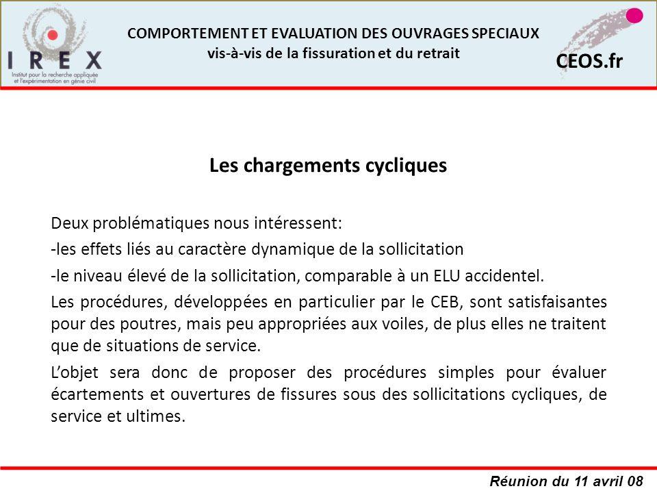 Réunion du 11 avril 08 CEOS.fr COMPORTEMENT ET EVALUATION DES OUVRAGES SPECIAUX vis-à-vis de la fissuration et du retrait Deux problématiques nous int