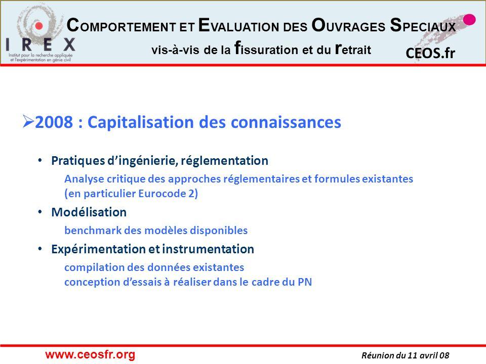 CEOS.fr Réunion du 11 avril 08 CEOS.fr C OMPORTEMENT ET E VALUATION DES O UVRAGES S PECIAUX vis-à-vis de la f issuration et du r etrait 2008 : Capital