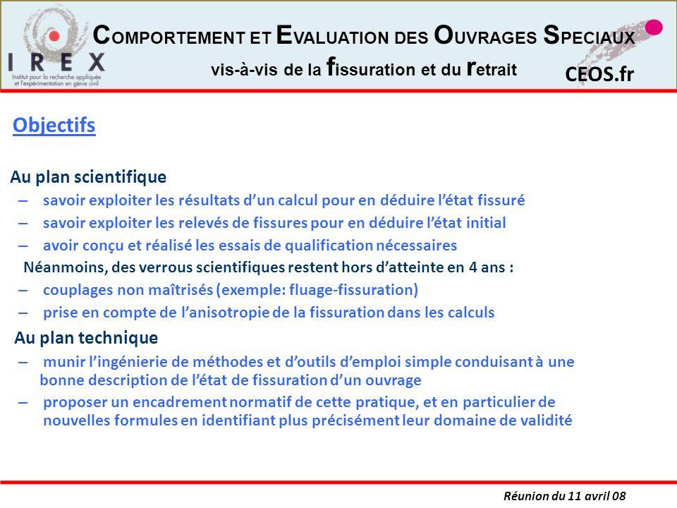 Réunion du 11 avril 08 CEOS.fr C OMPORTEMENT ET E VALUATION DES O UVRAGES S PECIAUX vis-à-vis de la f issuration et du r etrait Au plan scientifique –