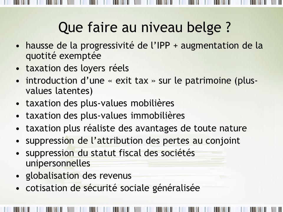 Que faire au niveau belge ? hausse de la progressivité de lIPP + augmentation de la quotité exemptée taxation des loyers réels introduction dune « exi