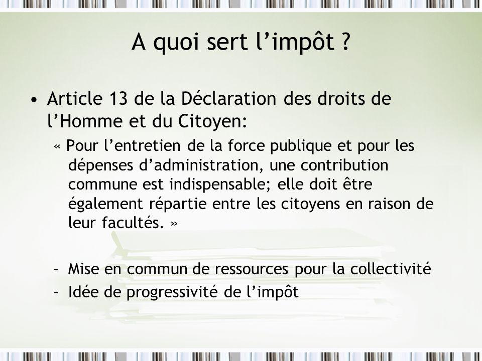A quoi sert limpôt ? Article 13 de la Déclaration des droits de lHomme et du Citoyen: « Pour lentretien de la force publique et pour les dépenses dadm