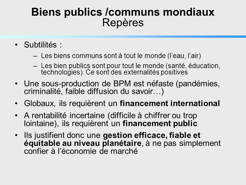 Biens publics /communs mondiaux Repères Subtilités : –Les biens communs sont à tout le monde (leau, lair) –Les bien publics sont pour tout le monde (santé, éducation, technologies).