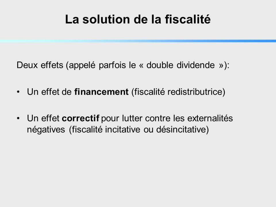 La solution de la fiscalité Deux effets (appelé parfois le « double dividende »): Un effet de financement (fiscalité redistributrice) Un effet correctif pour lutter contre les externalités négatives (fiscalité incitative ou désincitative)