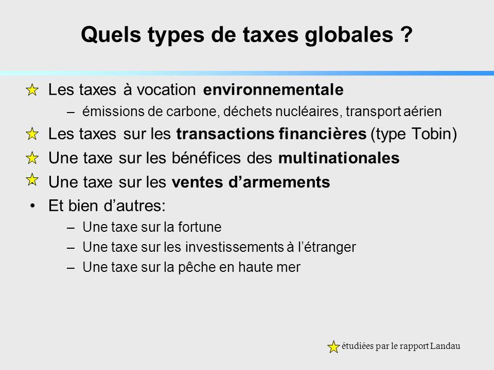 Quels types de taxes globales .