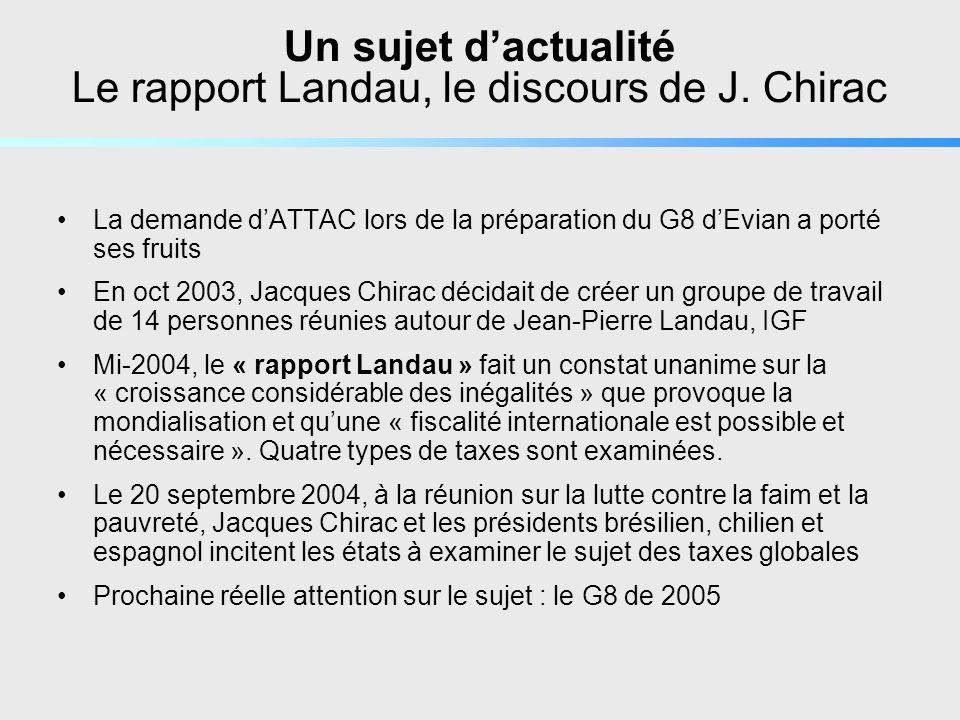 Pour se documenter Sur le site ATTAC Attac Paris Centre : http://www.local.attac.org/parisctr/documents.htmhttp://www.local.attac.org/parisctr/documents.htm Sur les taxes globales, avec le rapport Landau disponible : http://www.france.attac.org/m1020 et http://www.france.attac.org/a3540http://www.france.attac.org/m1020 http://www.france.attac.org/a3540 Rubrique Savoirs : http://www.france.attac.org/r88http://www.france.attac.org/r88 Rubrique Campagnes http://www.france.attac.org/r33http://www.france.attac.org/r33 Le 4 pages dATTAC « A économie mondialisée, fiscalité globalisée » et le 2 pages « Taxes globales » Sur les sites liés à lONU PNUD : http://hdr.undp.org/ et les rapports sur le développement humain et les ODMhttp://hdr.undp.org/ Global Policy Forum (rôle consultatif): http://www.globalpolicy.org/socecon/glotax/index.htmhttp://www.globalpolicy.org/socecon/glotax/index.htm Site de lUNPAN : http://www.unpan.org/corethemes-papers-on-innovations-LW.asp (6 rapports)http://www.unpan.org/corethemes-papers-on-innovations-LW.asp Dautres sources Site sur les BPM : http://www.bpem.org/ et louvrage de F.