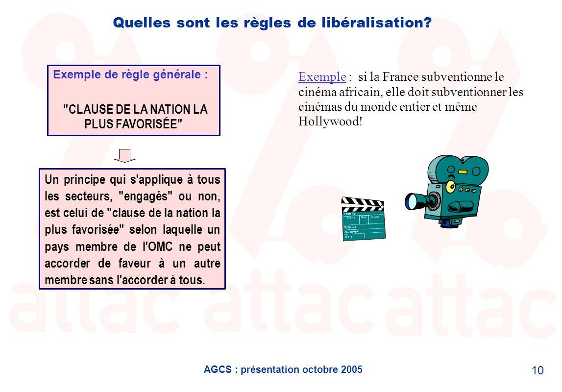 AGCS : présentation octobre 2005 10 Quelles sont les règles de libéralisation? Un principe qui s'applique à tous les secteurs,