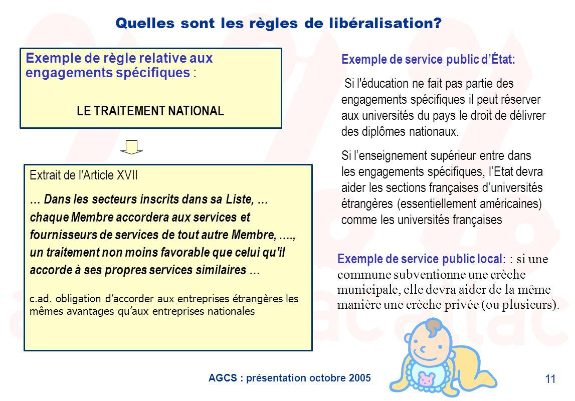 AGCS : présentation octobre 2005 11 Quelles sont les règles de libéralisation? Extrait de l'Article XVII … Dans les secteurs inscrits dans sa Liste, …
