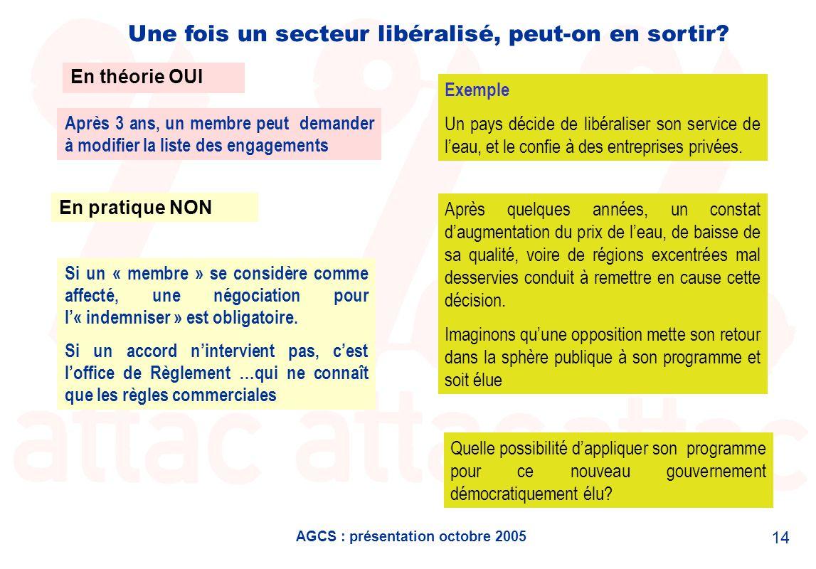 AGCS : présentation octobre 2005 14 Une fois un secteur libéralisé, peut-on en sortir? En théorie OUI En pratique NON Après 3 ans, un membre peut dema