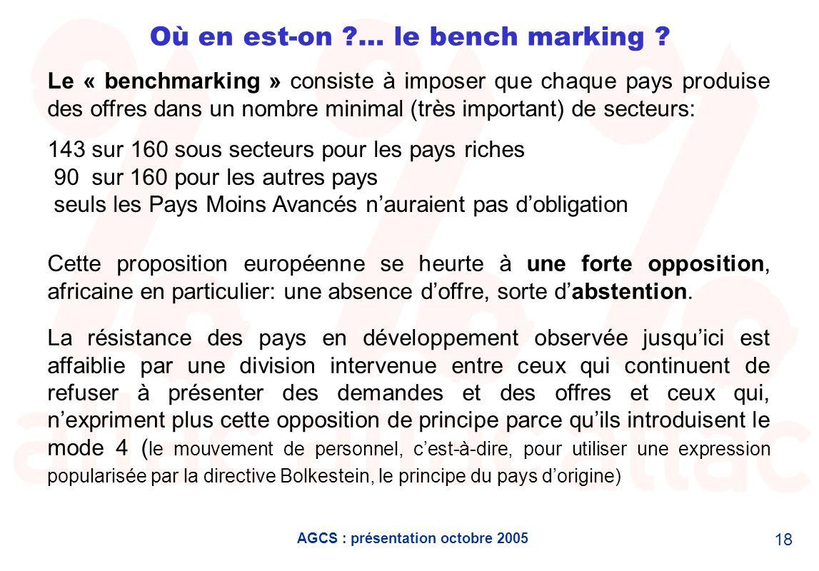 AGCS : présentation octobre 2005 18 Où en est-on ?… le bench marking ? Le « benchmarking » consiste à imposer que chaque pays produise des offres dans