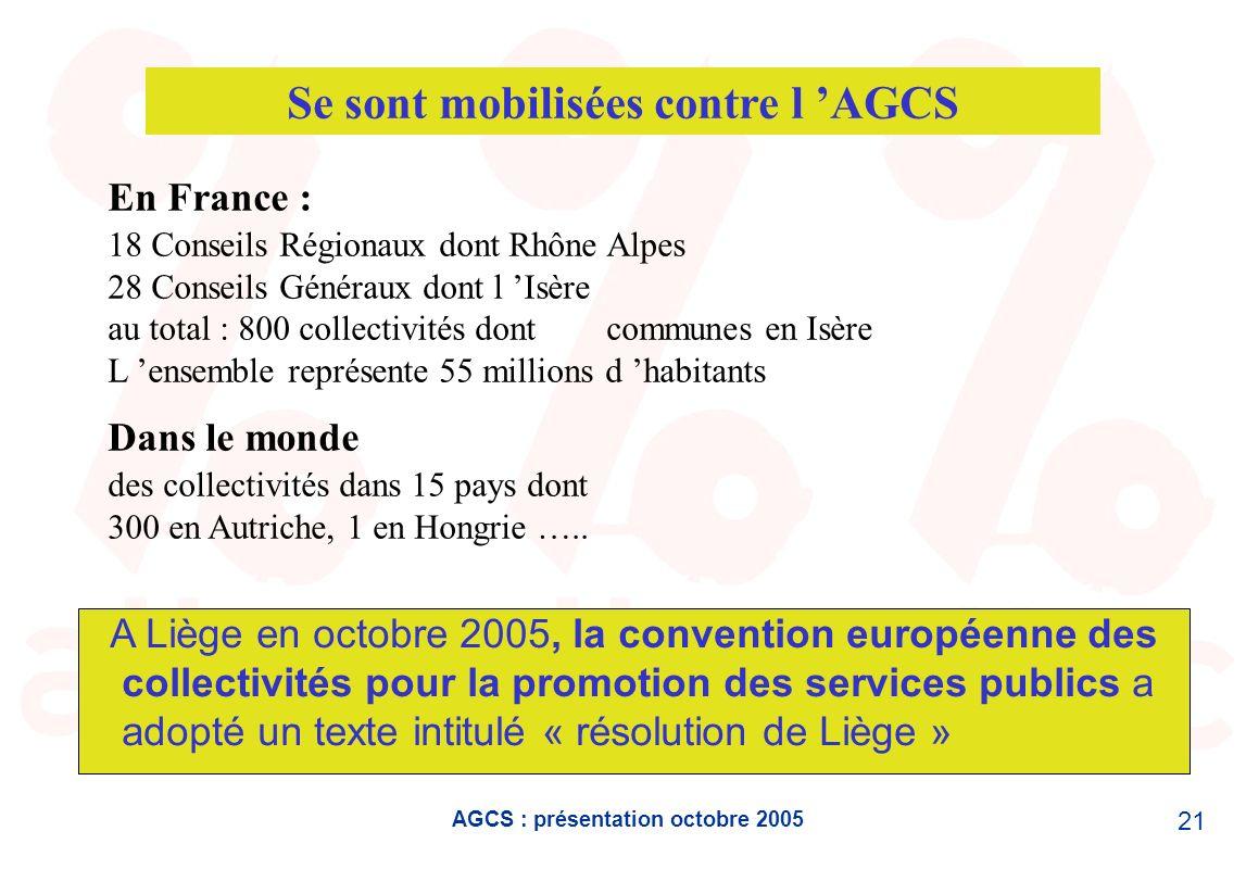 AGCS : présentation octobre 2005 21 Se sont mobilisées contre l AGCS En France : 18 Conseils Régionaux dont Rhône Alpes 28 Conseils Généraux dont l Is