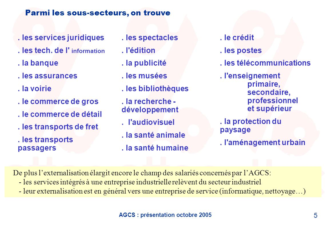 AGCS : présentation octobre 2005 5 Parmi les sous-secteurs, on trouve. les services juridiques. les tech. de l' information. la banque. les assurances