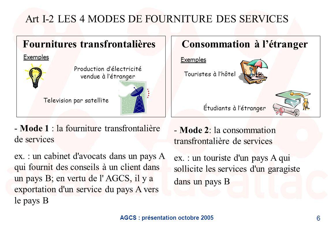 AGCS : présentation octobre 2005 6 Fournitures transfrontalièresConsommation à létranger Television par satellite Touristes à lhôtelExemples Étudiants