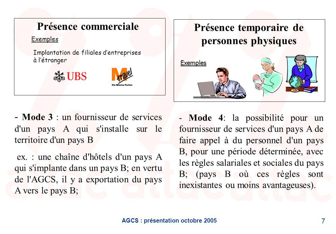 AGCS : présentation octobre 2005 7 Présence commerciale Exemples Implantation de filiales dentreprises à létranger Présence temporaire de personnes ph