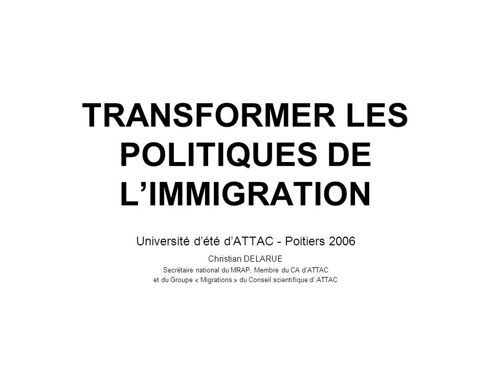 Université dété dATTAC - Poitiers 2006 Christian DELARUE Secrétaire national du MRAP, Membre du CA dATTAC et du Groupe « Migrations » du Conseil scien