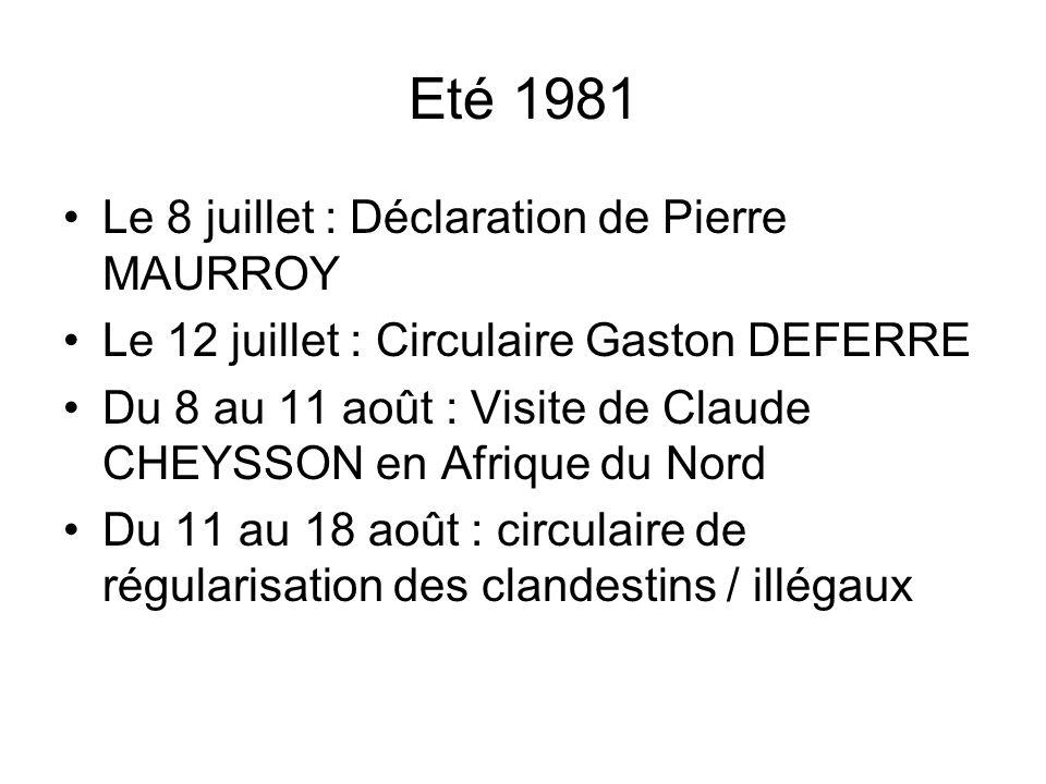 Eté 1981 Le 8 juillet : Déclaration de Pierre MAURROY Le 12 juillet : Circulaire Gaston DEFERRE Du 8 au 11 août : Visite de Claude CHEYSSON en Afrique