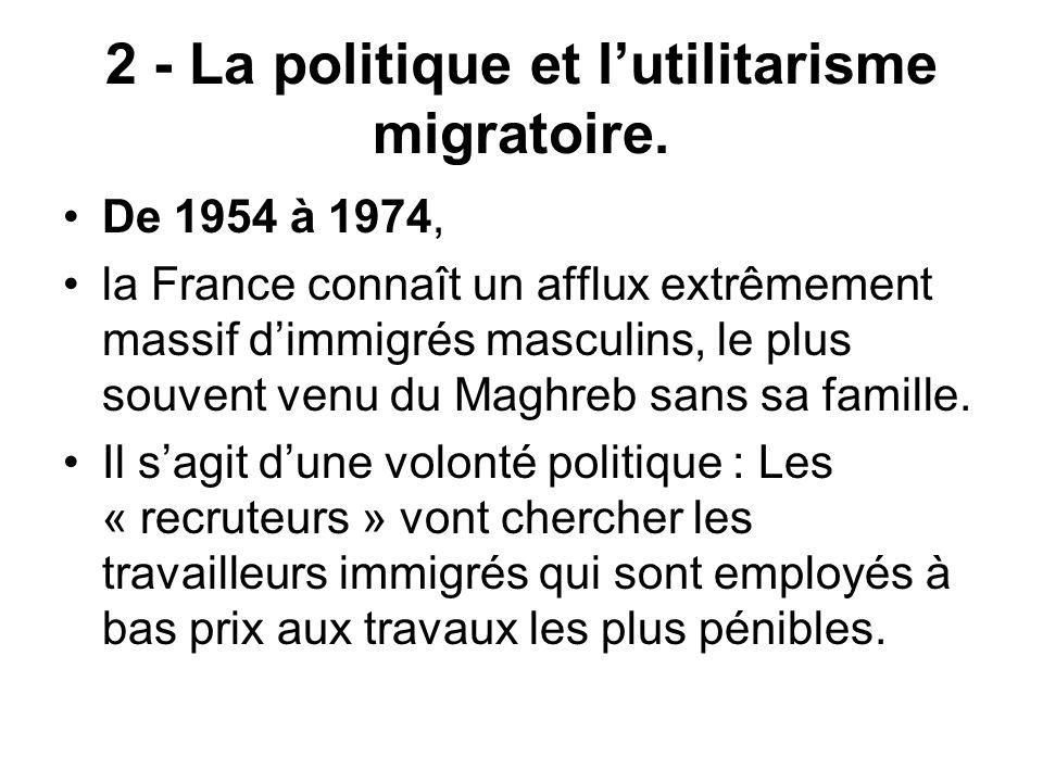 2 - La politique et lutilitarisme migratoire. De 1954 à 1974, la France connaît un afflux extrêmement massif dimmigrés masculins, le plus souvent venu
