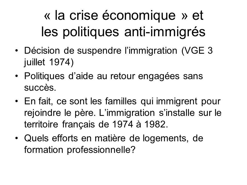 « la crise économique » et les politiques anti-immigrés Décision de suspendre limmigration (VGE 3 juillet 1974) Politiques daide au retour engagées sa