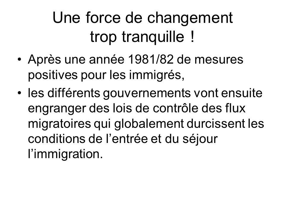 Une force de changement trop tranquille ! Après une année 1981/82 de mesures positives pour les immigrés, les différents gouvernements vont ensuite en