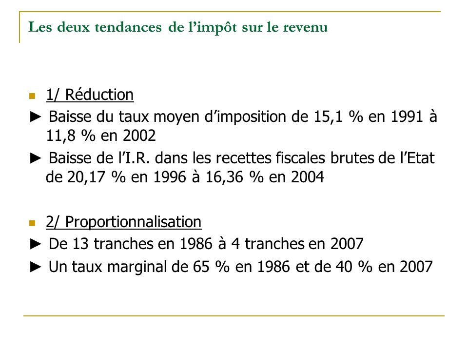 Les deux tendances de limpôt sur le revenu 1/ Réduction Baisse du taux moyen dimposition de 15,1 % en 1991 à 11,8 % en 2002 Baisse de lI.R.