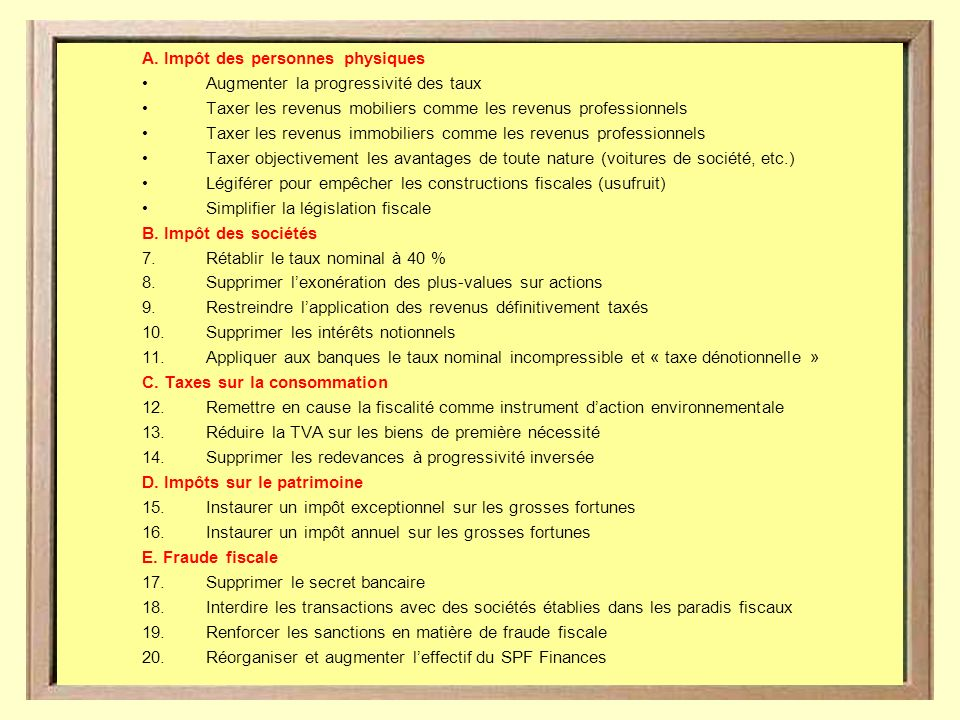 ALTERNATIVE POUR UNE 20 PROPOSITIONS FISCALE Marco Van Hees – septembre 2009