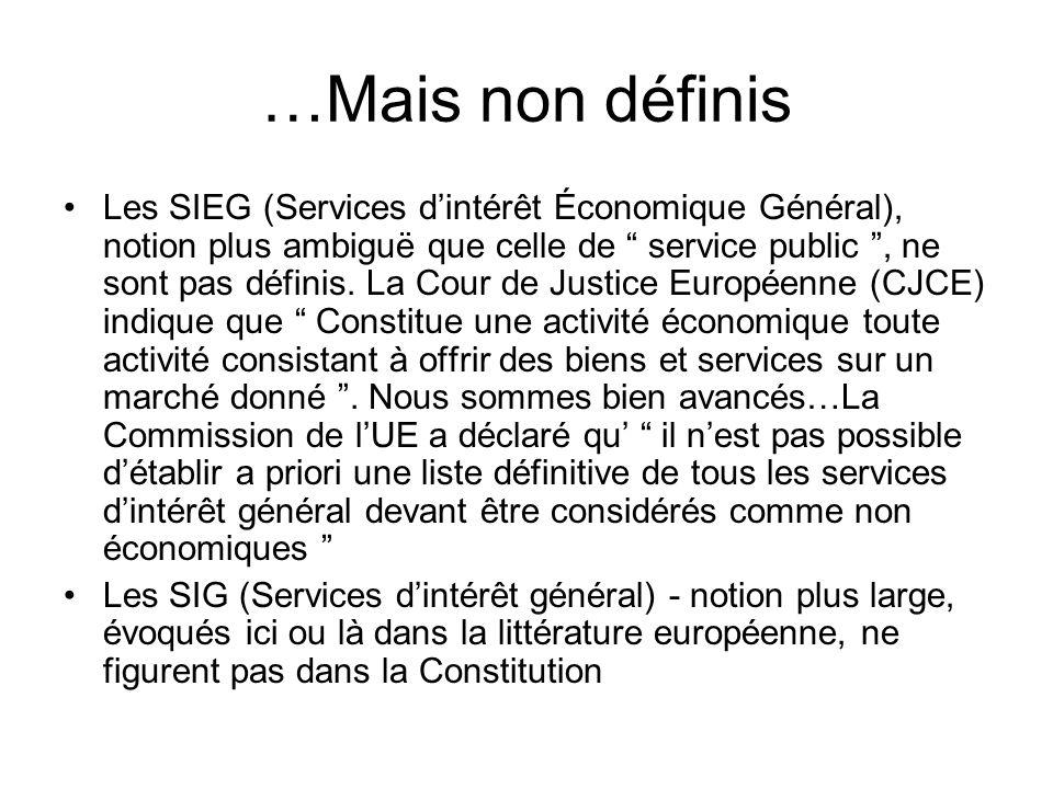 …Mais non définis Les SIEG (Services dintérêt Économique Général), notion plus ambiguë que celle de service public, ne sont pas définis.