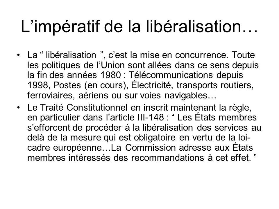 Limpératif de la libéralisation… La libéralisation, cest la mise en concurrence.