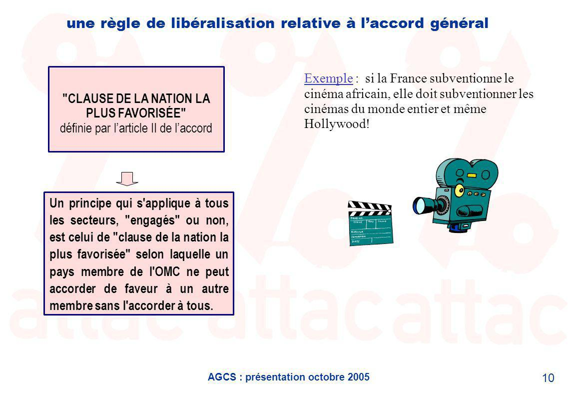 AGCS : présentation octobre 2005 10 une règle de libéralisation relative à laccord général Un principe qui s applique à tous les secteurs, engagés ou non, est celui de clause de la nation la plus favorisée selon laquelle un pays membre de l OMC ne peut accorder de faveur à un autre membre sans l accorder à tous.