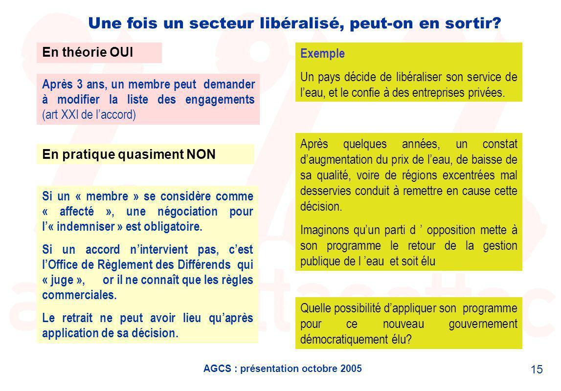 AGCS : présentation octobre 2005 15 Une fois un secteur libéralisé, peut-on en sortir.