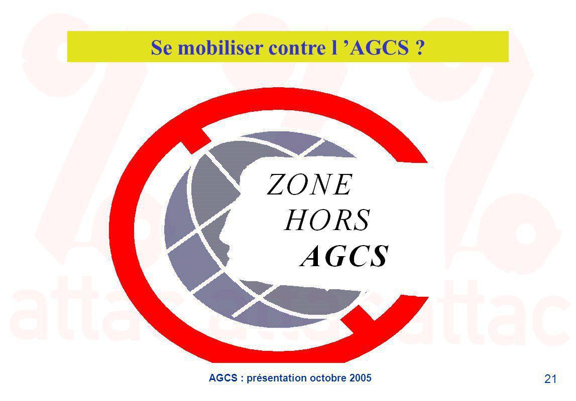 AGCS : présentation octobre 2005 21 Se mobiliser contre l AGCS