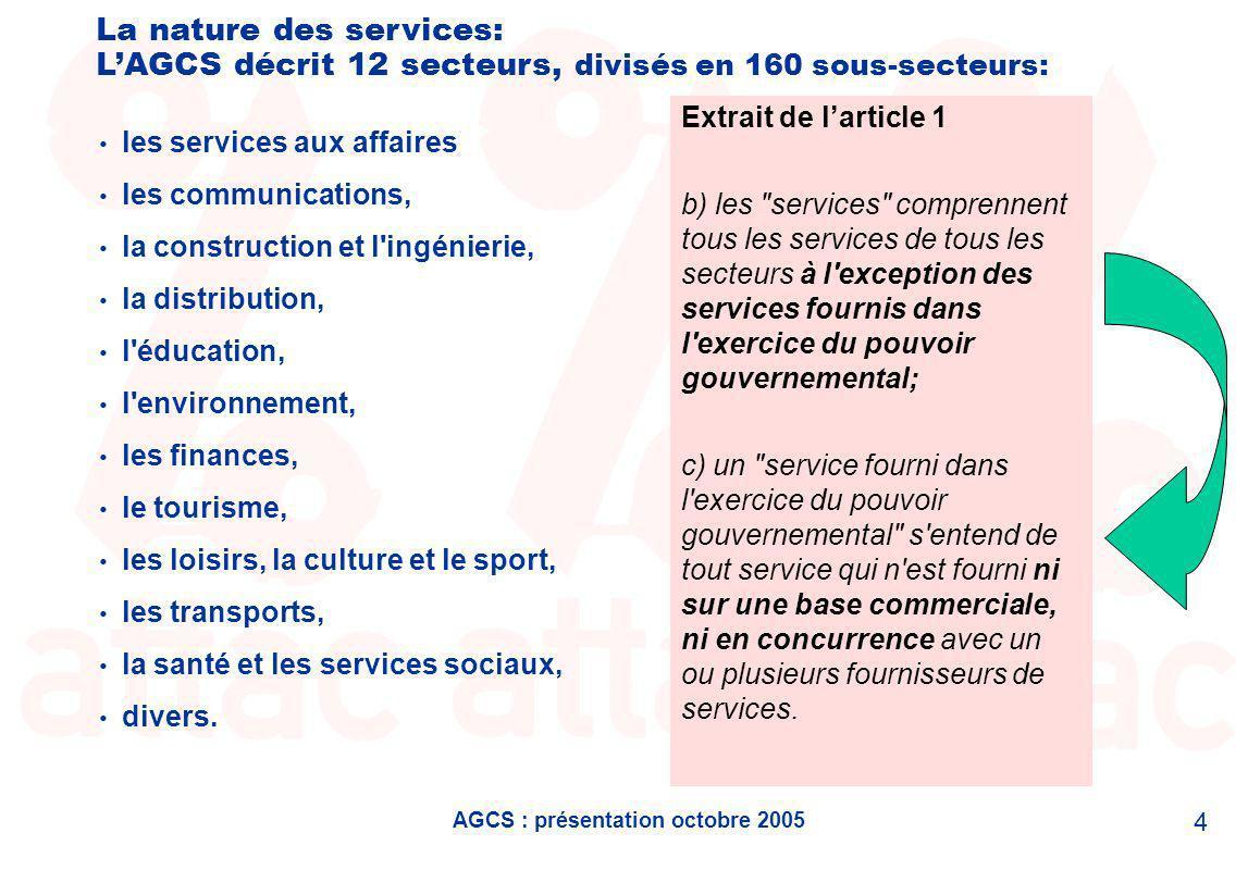 AGCS : présentation octobre 2005 5 Parmi les sous-secteurs, on trouve.