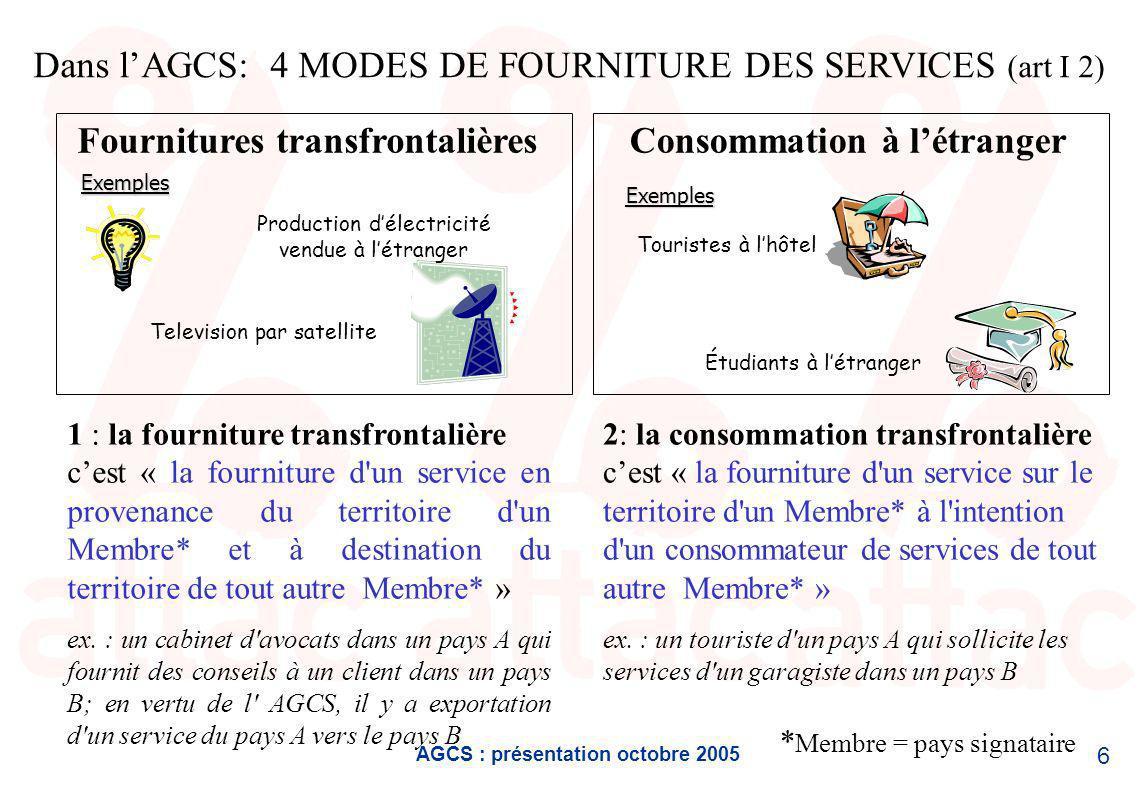 AGCS : présentation octobre 2005 7 3 : la présence commerciale cest « la fourniture d un service par un fournisseur de services d un Membre*, grâce à une présence commerciale sur le territoire de tout autre Membre* » ex.