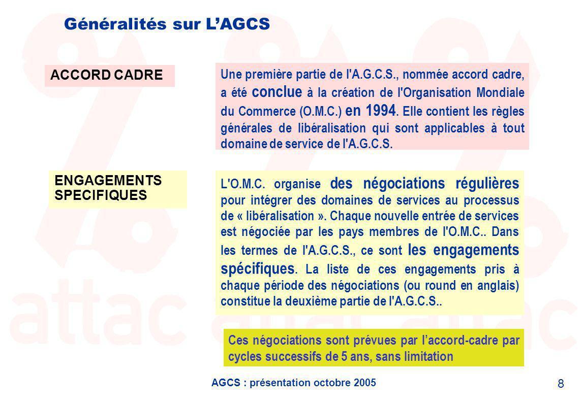 AGCS : présentation octobre 2005 19 Où en est-on ?… le benchmarking .