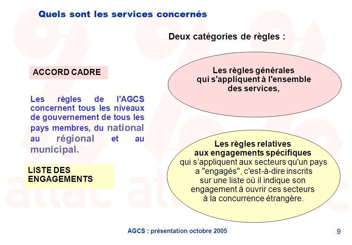 AGCS : présentation octobre 2005 9 Quels sont les services concernés Les règles de l AGCS concernent tous les niveaux de gouvernement de tous les pays membres, du national au régional et au municipal.