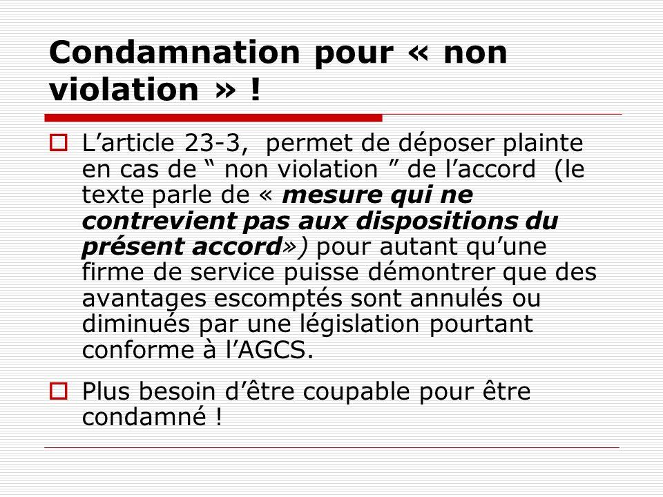 Condamnation pour « non violation » .