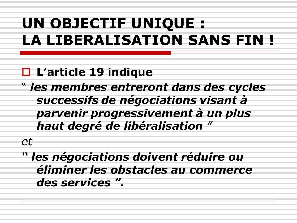 UN OBJECTIF UNIQUE : LA LIBERALISATION SANS FIN .