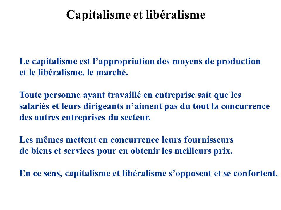 Le capitalisme est lappropriation des moyens de production et le libéralisme, le marché.