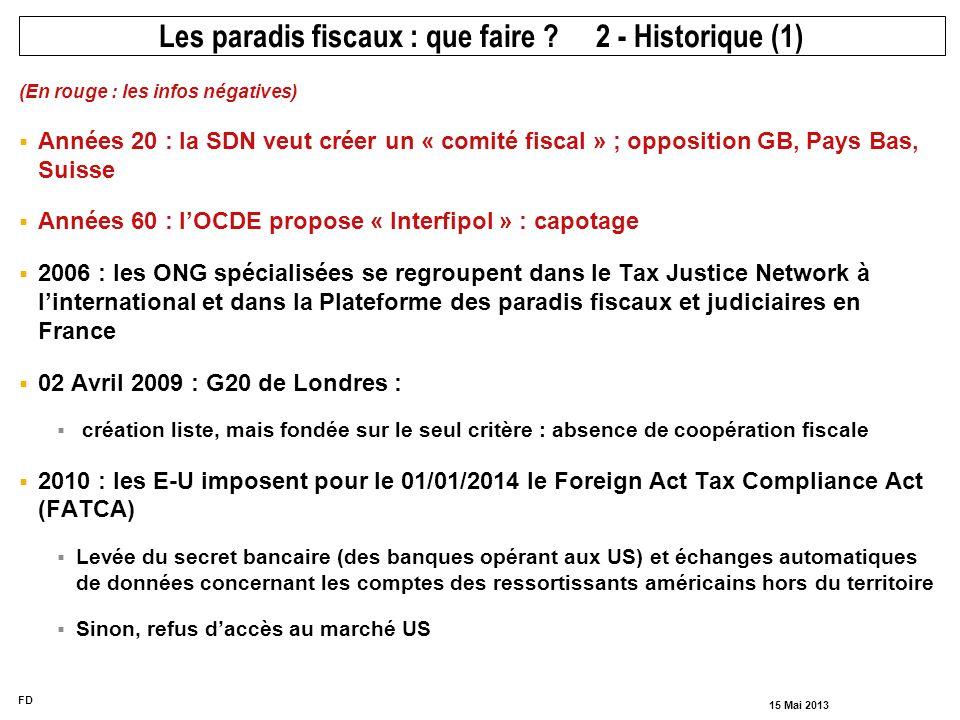 FD 15 Mai 2013 (En rouge : les infos négatives) Années 20 : la SDN veut créer un « comité fiscal » ; opposition GB, Pays Bas, Suisse Années 60 : lOCDE