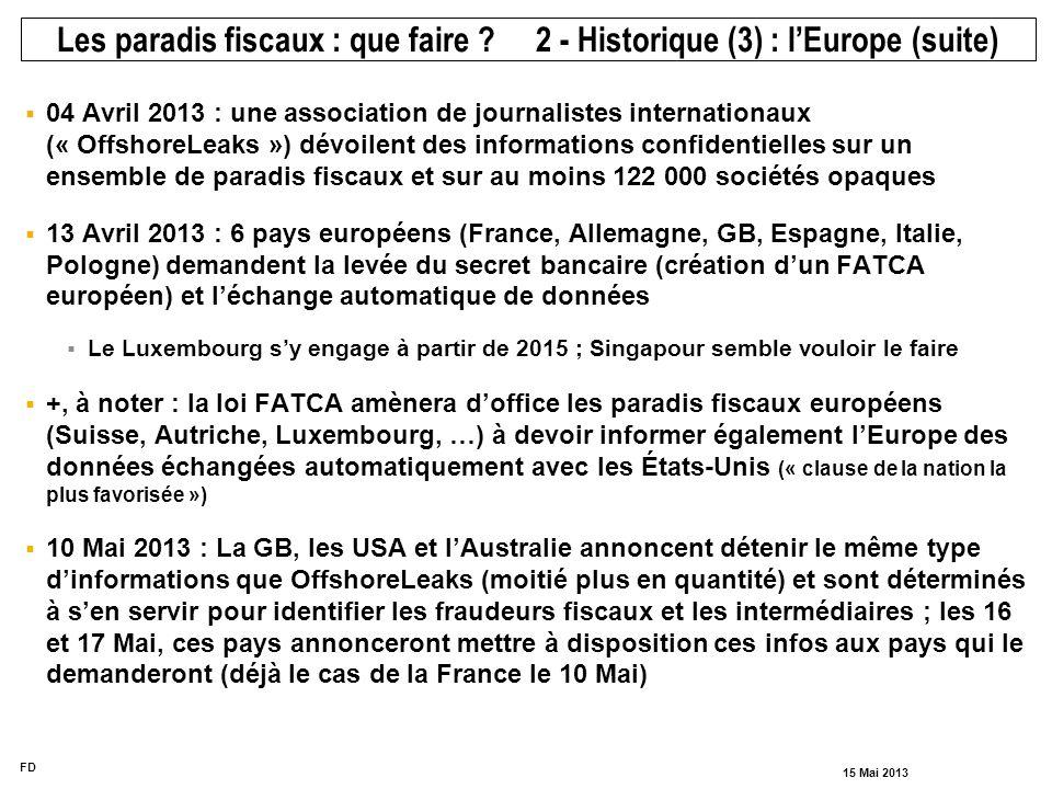 FD 15 Mai 2013 04 Avril 2013 : une association de journalistes internationaux (« OffshoreLeaks ») dévoilent des informations confidentielles sur un en