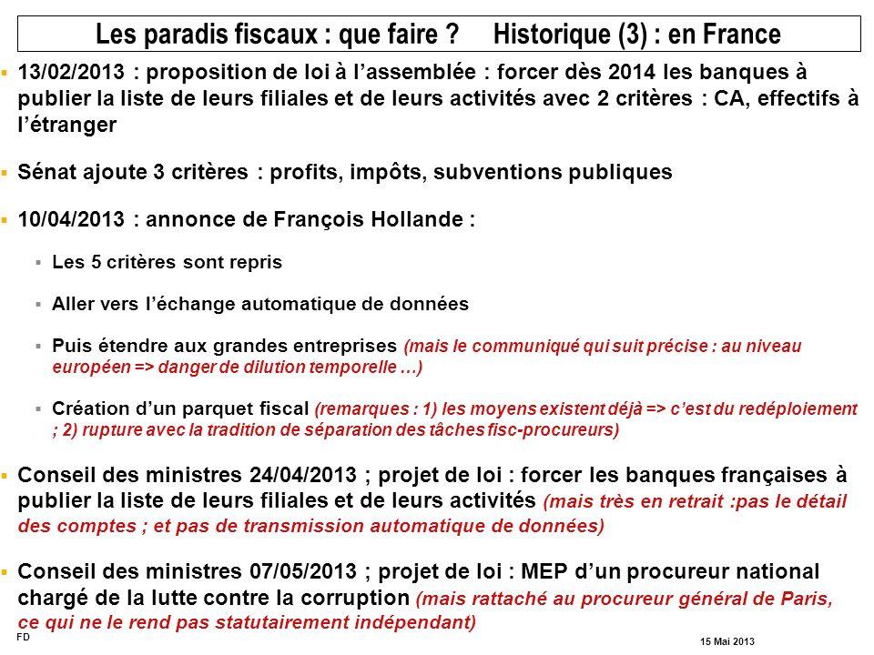 FD 15 Mai 2013 13/02/2013 : proposition de loi à lassemblée : forcer dès 2014 les banques à publier la liste de leurs filiales et de leurs activités a