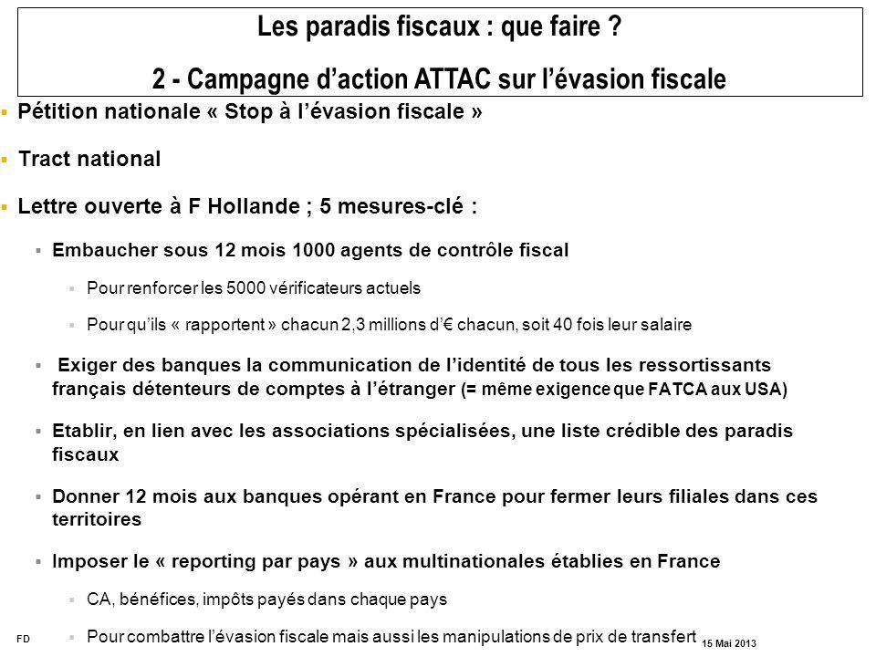 FD 15 Mai 2013 Pétition nationale « Stop à lévasion fiscale » Tract national Lettre ouverte à F Hollande ; 5 mesures-clé : Embaucher sous 12 mois 1000