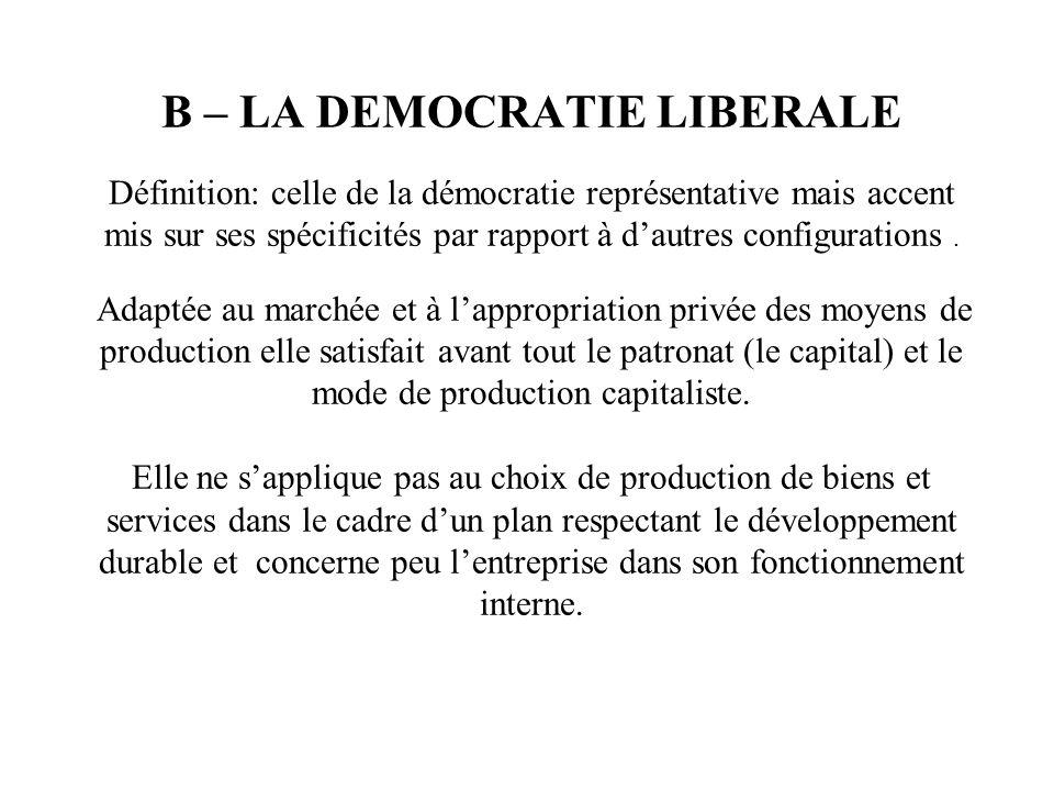 B – LA DEMOCRATIE LIBERALE Définition: celle de la démocratie représentative mais accent mis sur ses spécificités par rapport à dautres configurations