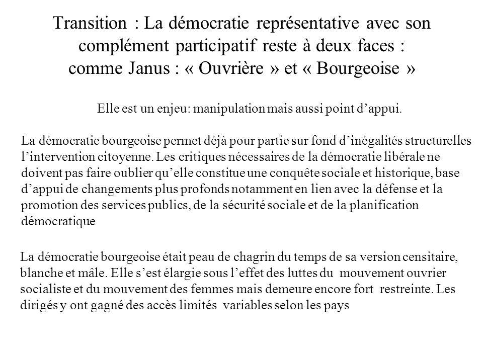 Transition : La démocratie représentative avec son complément participatif reste à deux faces : comme Janus : « Ouvrière » et « Bourgeoise » Elle est
