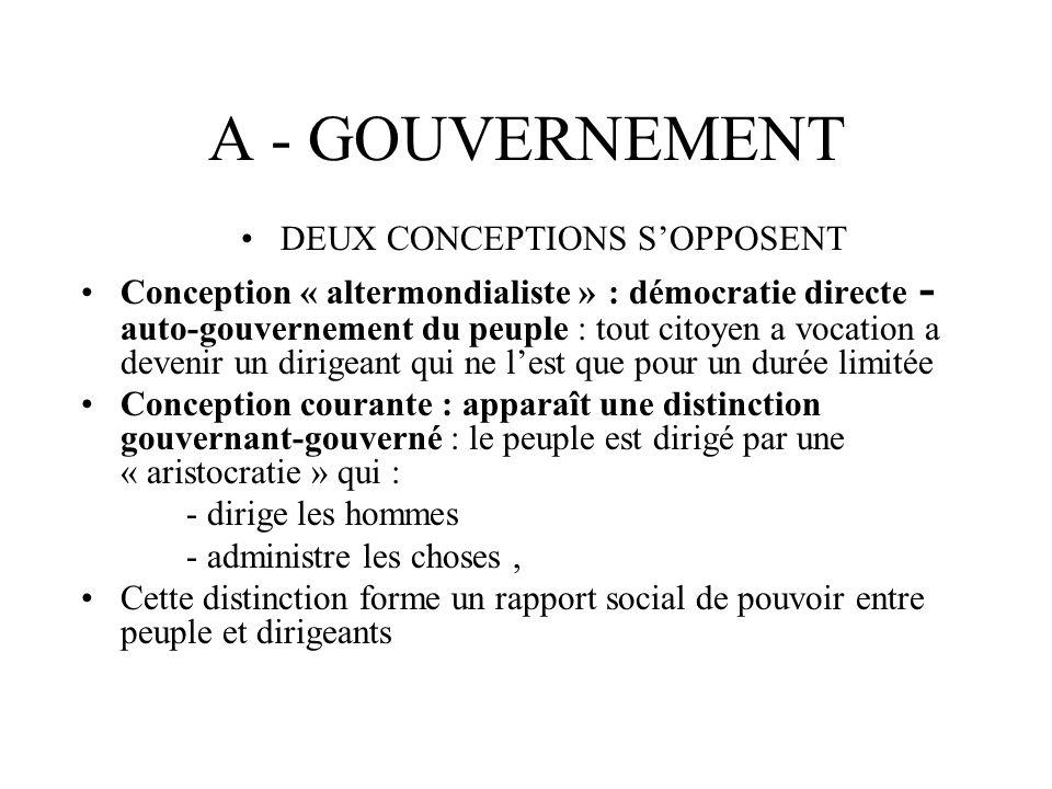 A - GOUVERNEMENT DEUX CONCEPTIONS SOPPOSENT Conception « altermondialiste » : démocratie directe - auto-gouvernement du peuple : tout citoyen a vocati
