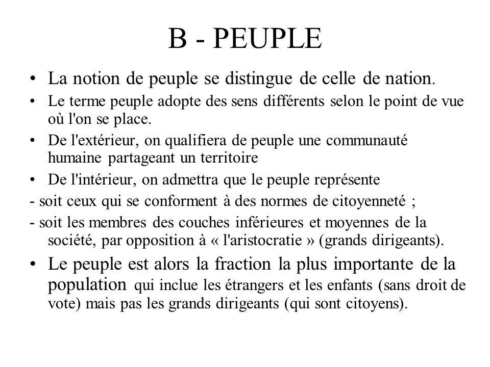B - PEUPLE La notion de peuple se distingue de celle de nation. Le terme peuple adopte des sens différents selon le point de vue où l'on se place. De