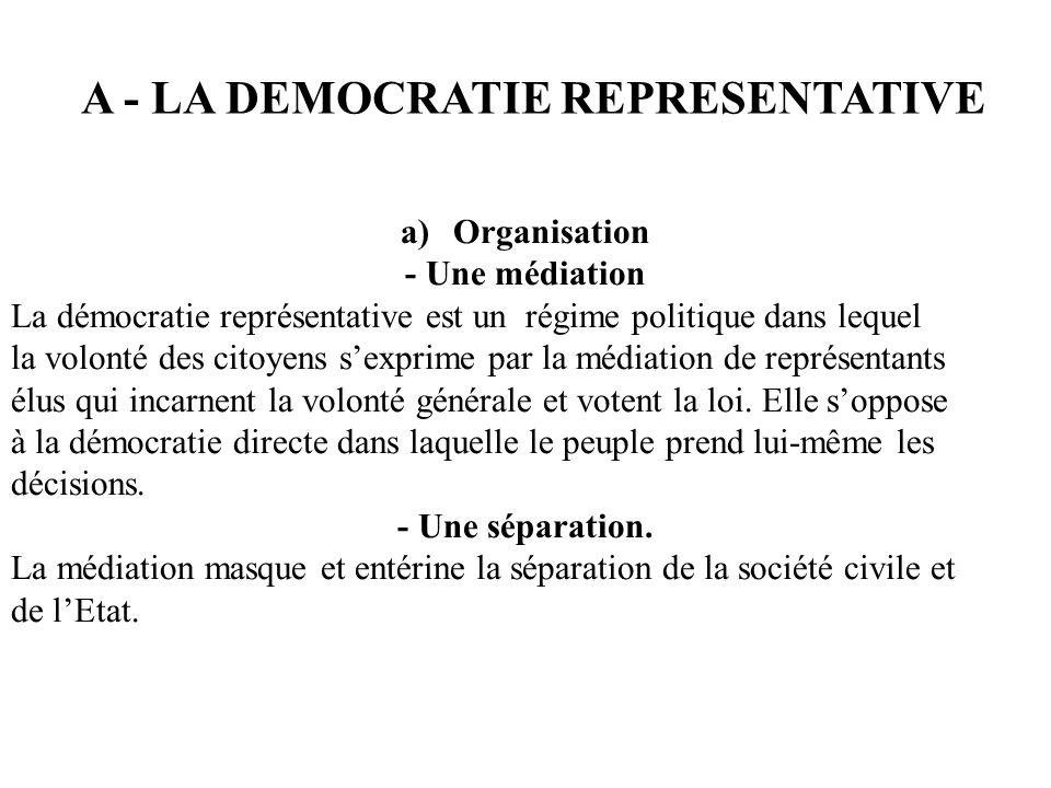 a)Organisation - Une médiation La démocratie représentative est un régime politique dans lequel la volonté des citoyens sexprime par la médiation de r