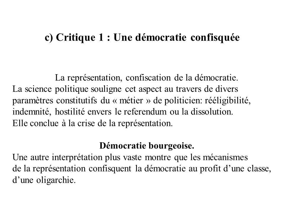 c) Critique 1 : Une démocratie confisquée La représentation, confiscation de la démocratie. La science politique souligne cet aspect au travers de div