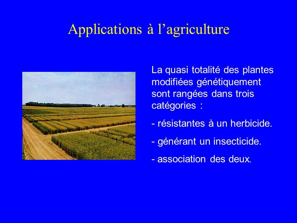 Applications à lagriculture La quasi totalité des plantes modifiées génétiquement sont rangées dans trois catégories : - résistantes à un herbicide.